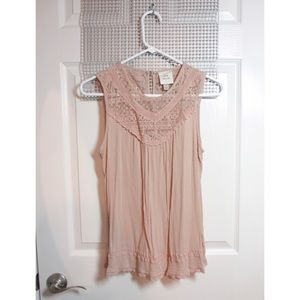 Sleeveless Blush Top with Lace